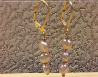 Vintage Handmade Long Earring Light Purple Pearls Beads Natural Gemstone