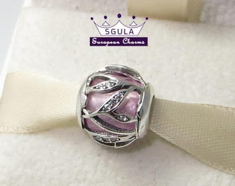 925 Sterling Silver Charm European bead Pink Natures Radiance, Clear CZ fit Pandora bracelet and European Bracelets