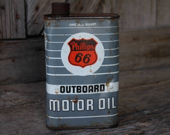 Phillips 66 Outboard Motor Oil One Quart Tin Can