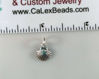 Clearance .925 Sterling Silver Charm, Sea Shell on Sale Close Out