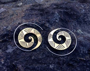 NEW! Brass Hill Tribe Spiral Earrings with Sterling Silver Ear Wires, Tribal Modern Style for Gypsies and Mystics - E134