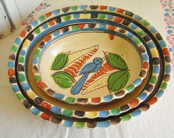 3 Vintage Mexican Hand Painted Tlaqupaque Style Nesting Bowls Set Red Ware Terra Cotta Southwestern Pottery Dish Set Signed on Back