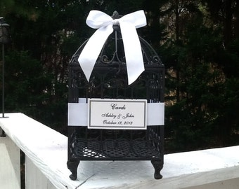 Large Wedding Birdcage Card Holder / Gift Cards Bird Cage Money Holder You Customize and Personalize