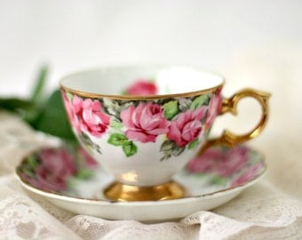 Vintage Collectible Royal Sealy China Japan Porcelain Teacup & Saucer Set - Pink Roses 22 k Gold Gild Trim Scalloped Handle