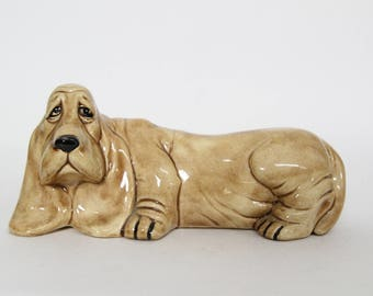 Vintage Duncan Ceramics Dog Figurine, Tan Basset Hound 1970s