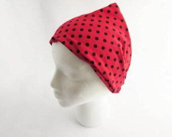 Red Polka Dot Headband - Fitness headband - Non Slip Headband - Wide headband - Ready to Ship