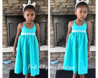 Custom colors available- Girls Turqoise Summer Dress with White Crochet Detail