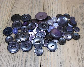 50 Vintage Purple Buttons Mixed Bulk