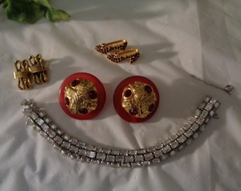 Destash Repair Craft Lot Kalinger Made in Paris Rhinestone Bracelet Freirich Earrings Ruby Glass Slippers Brooch