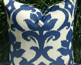 IKAT Richloom Solarium Basalto Navy Blue Ivory Decorative Outdoor Pillow Cover 16x16 18x18 20x20 22x22 16x12,18x12 more sizes with Zipper