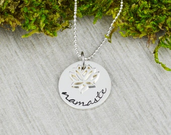 Namaste Sterling Silver Necklace with Lotus