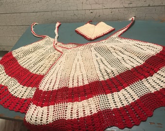 Mother Daughter Crocheted Aprons Vintage Red White with Matching Pot Holder
