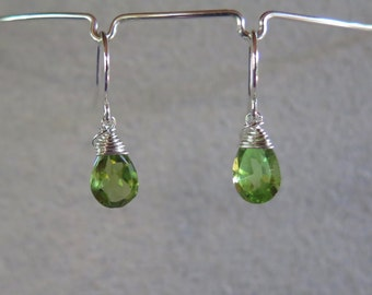 Peridot Earrings - August Birthstone - Sterling Silver or Gold Filled