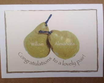 Engagement Wedding Greeting Card - Congratulations to a lovely pair! Illustrated!