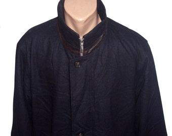 Vintage Bugatti Hirmer men coat navy blue wool and cashmere