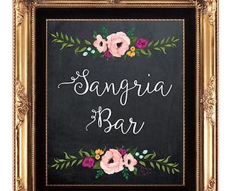 sangria bar sign, printable Sangria Bar sign, digital sangria bar sign, chalkboard sangria bar sign, 8 x 10, you print, instant download