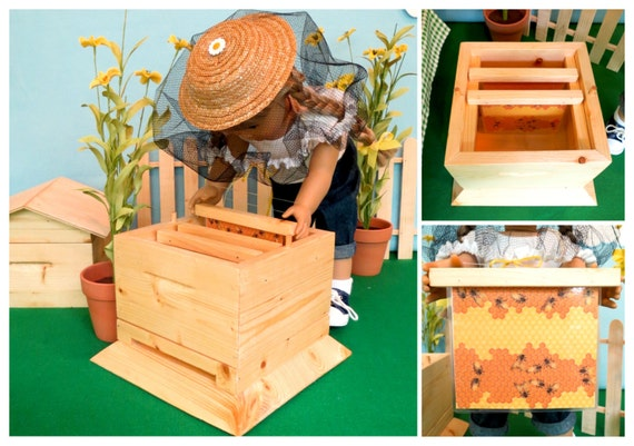 Doll BEEHIVE SET Handcrafted for 18 Inch dolls such as American Girl®  includes beehive, beekeepers hat and honey jar