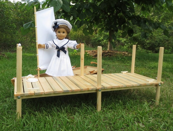 Doll WOOD DOCK, Handcrafted for 18 Inch dolls such as American Girl ®,  Photography Prop