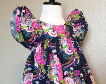 Spring, Summer, Girls, Toddler Dress, Navy, Pink, Floral, Flutter Sleeves, Petal and Plume Tunic, Newborn Coming Home Outfit, Easter Dress