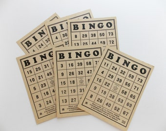 Vintage bingo cards, 6 cardboard cards, classic colors, randomly selected, black and tan, mid century, games, scrapbooking, paper ephemera.