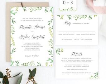 Botanical Leaves Printable Wedding Invitation Set - Wedding Suite Editable PDF Template - Instant Download #BOC