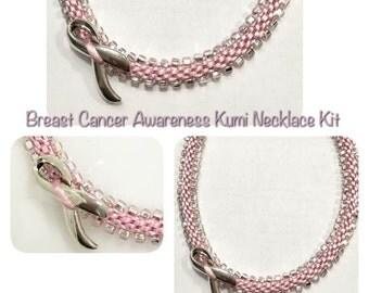 Breast Cancer Awareness Necklace or Bracelet  Kit