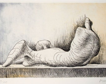 HENRY MOORE - 'Reclining figure - right' - hand signed & numbered original etching and aquatint, c1976