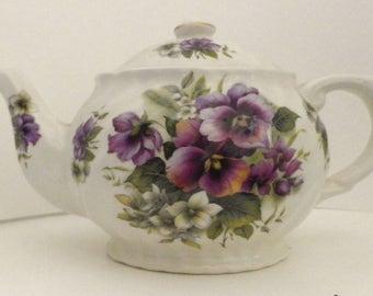 English Teapot with Pansies