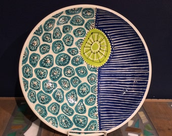 Turquoise, Chartreuse, and Royal Blue Sgraffito Serving Bowl