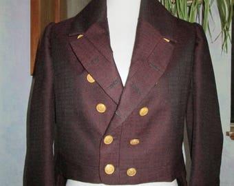 Mens Regency Tailcoat, burgundy, authentic 1810-1830 coat, wool and silk blend, Jane Austin