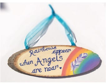 Angel Sign/ Wall Plaque/Housewarming Gift/Feather/ Wall Hanging/ Home Decor/ Rainbows Appear When Angels Are Near Quote/ Feather