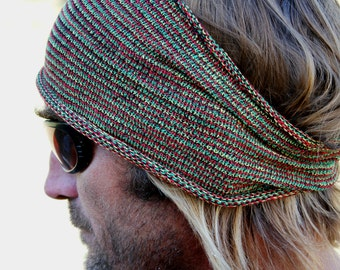 WIDE Rasta Mens Headband, Rasta Dreadband, Rasta Sweatband, Rastafarian Headwrap, Knitted Headband, Winter Headband, Mens Gift, Locs, Hair