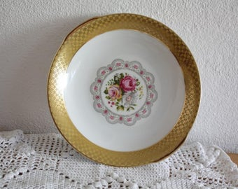 Winterling side plate with roses and gold trim, vintage plate,