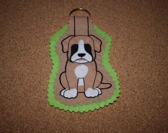 Boxer Keyring, Boxer Dog Keyring, Dog Keyring, Handmade Keyring, Boxer, Boxer Dog Gift, Boxer Gift, Fabric Keyring
