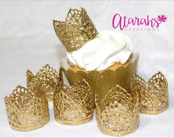 Cupcake topper / Crown cupcake toppers /  Cupcake topper  / MADE IN USA.