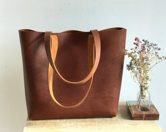 Ready to ship. Tan / Cognac Leather tote bag with sewn handles. Tan Cap Sa Sal Bag. Handmade.