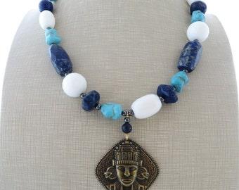 Blue lapis lazuli necklace, turquoise necklace, pendant necklace, white agate necklace, beaded necklace, italian jewelry, ethnic jewelry