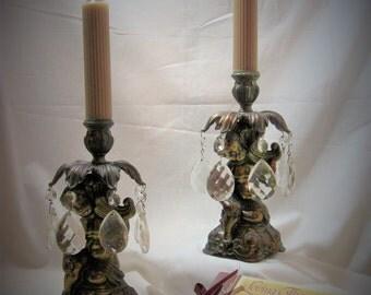VINTAGE BRASS CANDLESTICKS With Crystal Prisms, Cherub Base Brass Angel Candle Holder