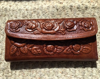 Tooled Leather Wallet ,Roses,tooled leather,brown, rose wallet,wallet