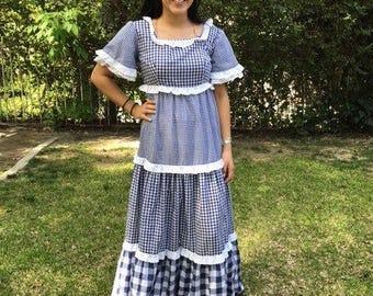 Maxi dress,small,hippie dress,1970s,70s,floral,checkered dress,blue,white,dress,handmade,prairie dress