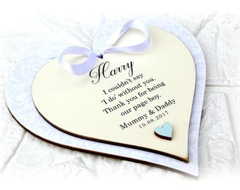 Thank You Page Boy Heart Plaque