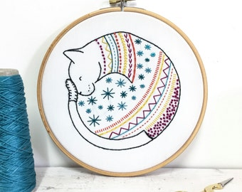 Cat Contemporary Embroidery Kit - Embroidery Hoop Art - Learn How to Embroider - Hand Embroidery Kit - Craft Kit - Embroidery Pattern