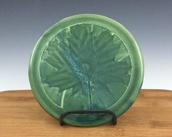 Trivet, Pottery Trivet, Ceramic Trivet, Pot Holder, Fern, Kitchen, Stoneware, Handmade, Green