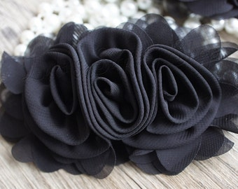 "3""  Black Chiffon Ruffle Flowers - Black Fabric Roses- Large Fabric Flower - Wholesale Chiffon Flower - Ruffle Fabric Flower"