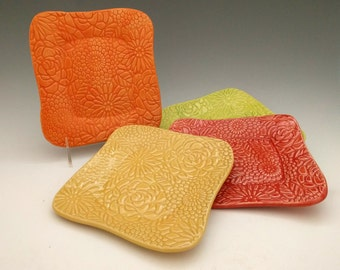 Textured Dessert Plate, Salad Plate, Small Serving Plate, Set of 4 in Sorbet Colors