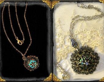 Preserved Mermaid Tears Glow in the dark silver necklace ~ Romantic, Mystical, Victorian, Steam Punk, Ren Faire
