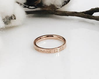 Rose Gold Stainless Steel Ring, Hand Stamped, Personalized Ring, Stacking Ring