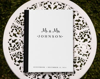 Black and White Wedding Guest Book, White Guest Book, Custom Guest Book, Simple Wedding Guest Book, Simple Guest Book, GB 007