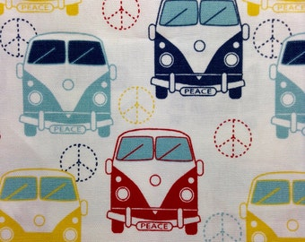 One, 17.5 Inch Piece of Fabric Material  - VW Peace