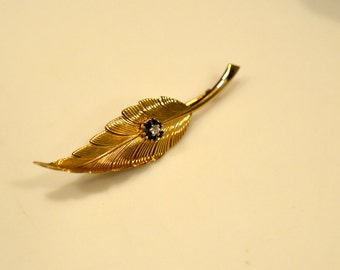 Vintage rare Tiffany's pin: lovely 14k gold golden leaf brooch pin with diamond  in original box